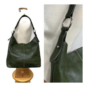 Talbots Avocado Green Leather Slouchy Hobo Bag